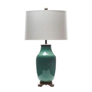 Lawrence & Scott Dun Lang Celadon Green Crackle Glaze Hand Spun Porcelain Table Lamp For Sale