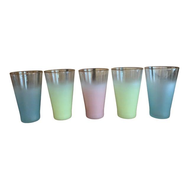 Vintage Frosted Pastel Glasses- Set of 5 For Sale