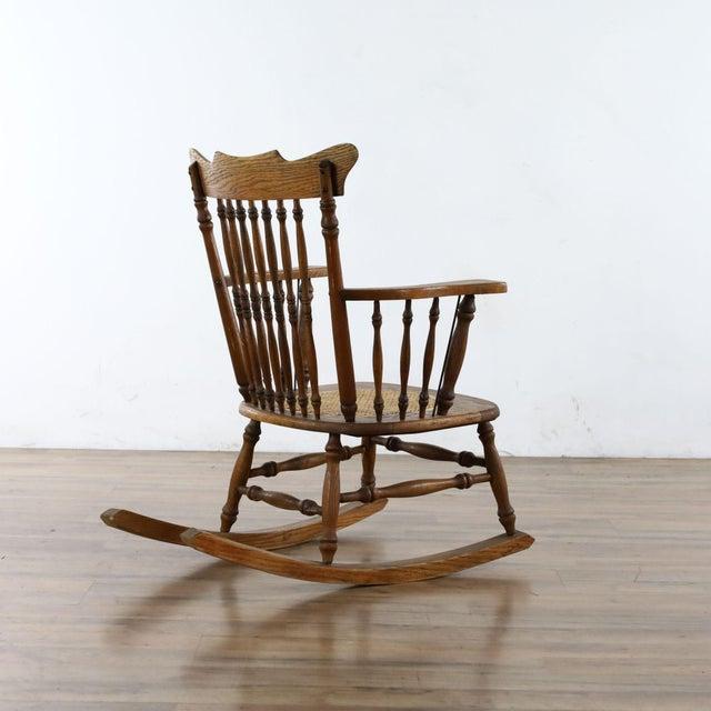 Antique Spindle Back Oak Rocking Chair For Sale In San Francisco - Image 6 of 8
