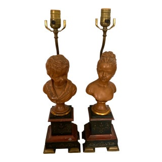 Antique Late 19th Century Clay Terracotta Busts Mounted Lamps After Houdon - a Pair For Sale