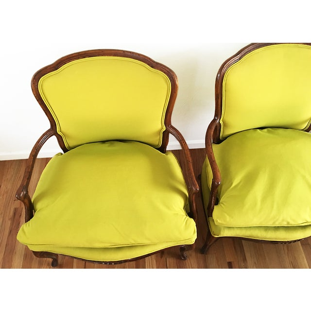Vintage French Bergere Down Stuffed Chairs - Pair - Image 5 of 9