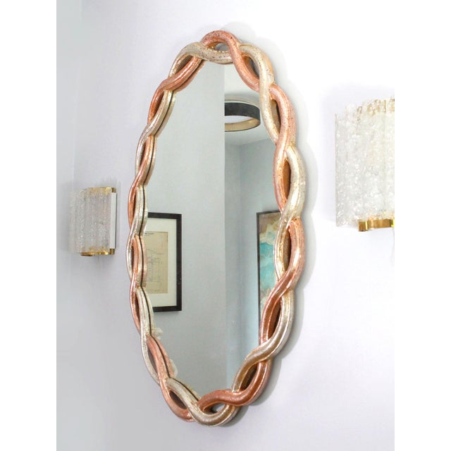 Ethan Allen Vintage Ethan Allen Gilded Wood Braided Oval Mirror Made in Italy For Sale - Image 4 of 5