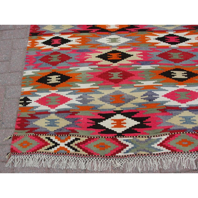 Red Vintage Turkish Kilim Rug - 4′4″ × 6′10″ For Sale - Image 8 of 11