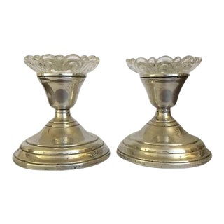 Vintage Sterling Silver Candle Sticks With Vintage Glass Drip Plates - a Pair For Sale