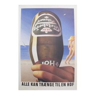 Original 1980's Danish Design Poster, Carlsberg at the Beach