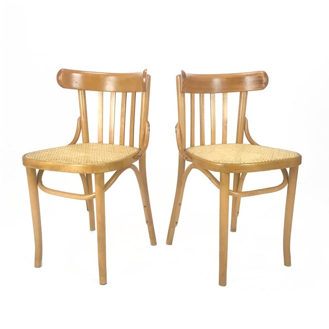 Brown Vintage Romanian Maple Bentwood & Cane Side Chairs - A Pair For Sale - Image 8 of 8