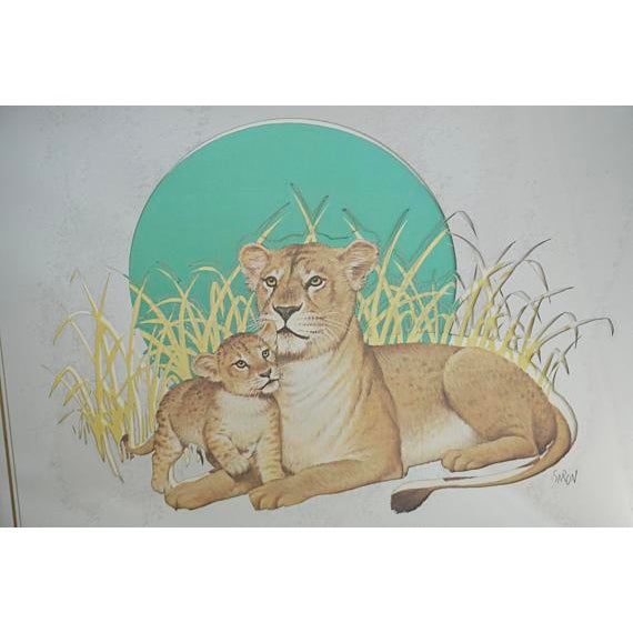 Asian Vintage Glassiques by Murray Skoff Enterprises Mother & Baby Lion Mirror For Sale - Image 3 of 10