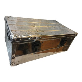 Vintage Metal Trunk For Sale