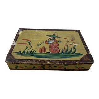 Antique Handpainted Chartreuse Japanese Box For Sale