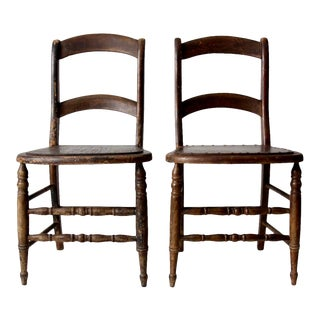 Antique Wooden Dining Chairs - a Pair For Sale