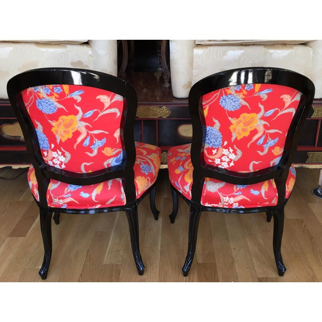 Black Lacquer Louis XV Style Chairs - A Pair - Image 5 of 5