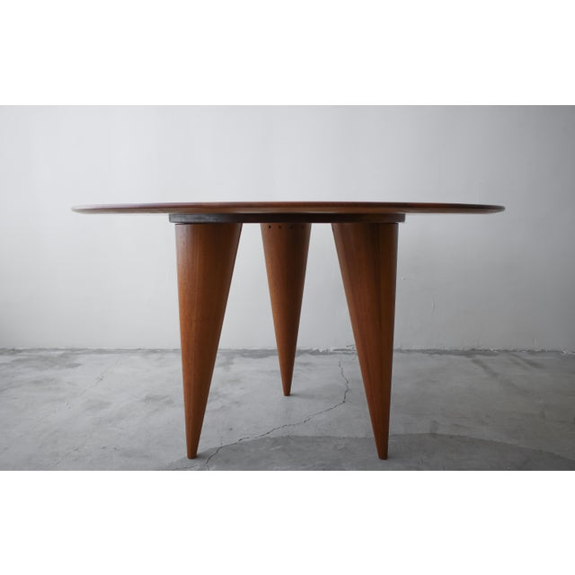 1960s Mid Century Round 3 Legged Danish Solid Teak Dining Table For Sale - Image 5 of 7