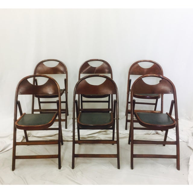 Set of 6 Vintage Bentwood Folding Chairs. Original Finish, Fabric and Fittings. Finish and Fabric Show wear consistent...