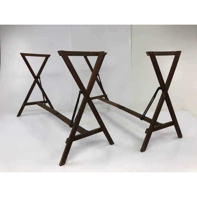 Vintage Industrial Wood Table Bases - a Pair For Sale - Image 12 of 12