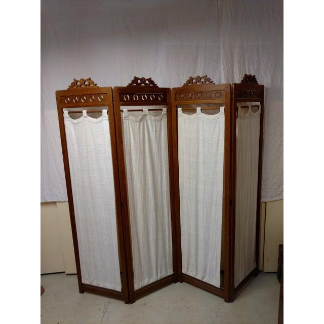 Vintage Carved Wood Room Screen Linen Panels For Sale - Image 12 of 12
