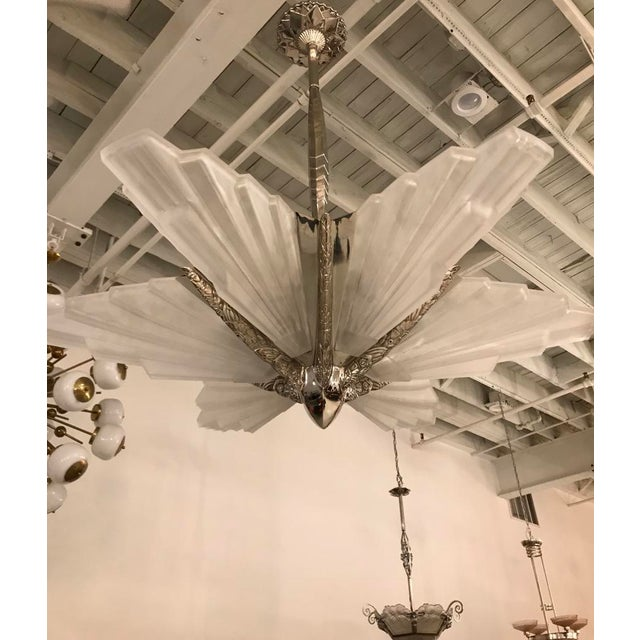 Marius-Ernest Sabino Grand French Art Deco Six-Panel Starburst Chandelier by Sabino For Sale - Image 4 of 11