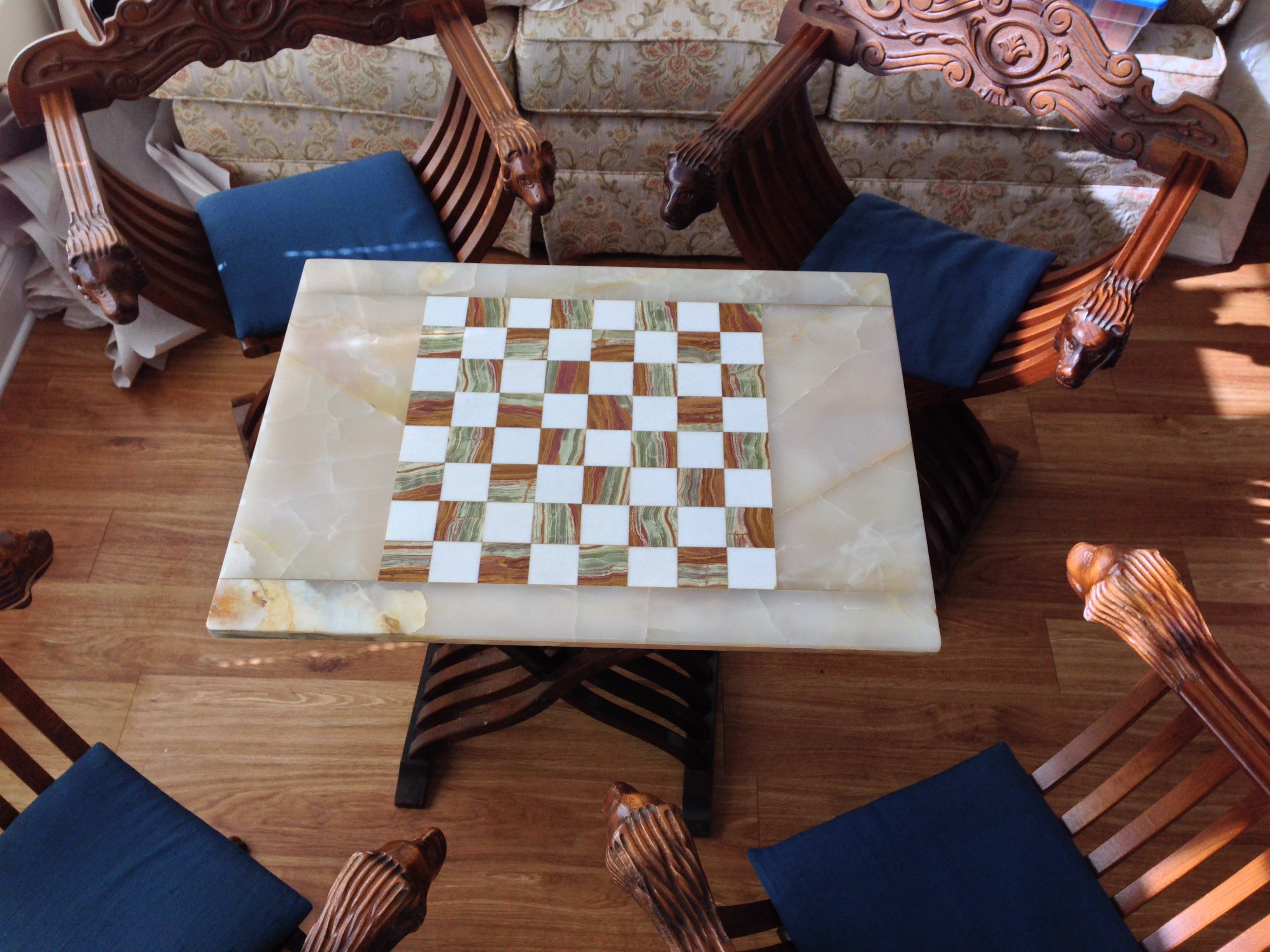 Chess Board Table U0026 Folding Chairs For Sale   Image 4 Of 11