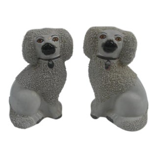 Antique Staffordshire White French Poodles - a Pair For Sale