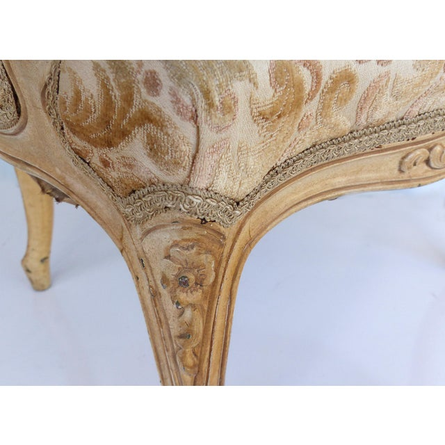 Antique Louis XV Style Provincial Velvet Fauteuil Armchairs- a Pair For Sale In Miami - Image 6 of 13