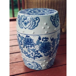 Blue and White Garden Stool Preview