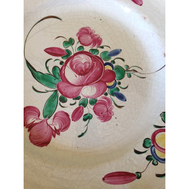French Hand Painted Flower Faience Wall Plaque - Image 3 of 9