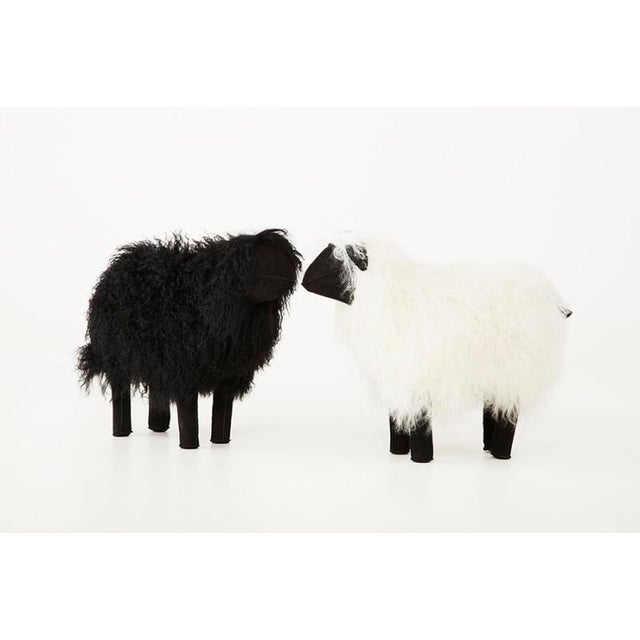 1970s Medium Lalanne Style Tibetan Lamb Sheep in White For Sale - Image 5 of 7