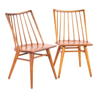 Leslie Diamond for Conant Ball Mid Century Windsor Dining Chairs - Pair For Sale