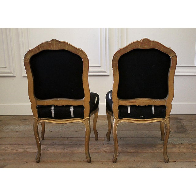 Late 19th Century Giltwood Louis XV Style French Chairs- A Pair For Sale - Image 12 of 13