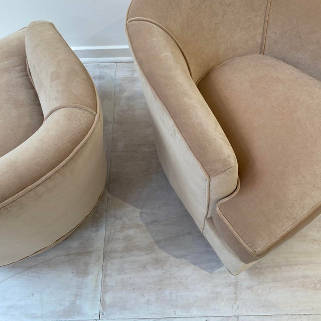 Beautiful fully restored pair of swivel barrel chairs. These are versatile and comfortable with a small footprint....