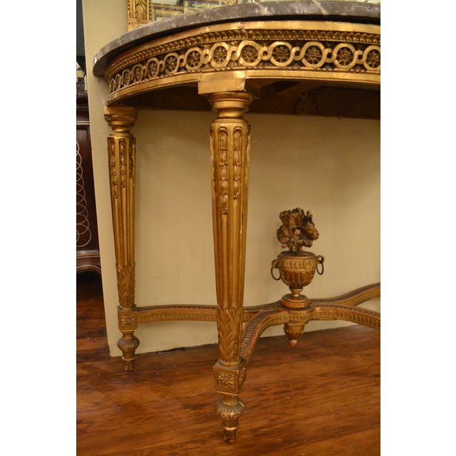 Antique French Louis XVI Openwork Gold Console with Original Marble For Sale - Image 4 of 5