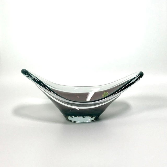 Mid-Century Modern 1950s Swedish Blown Bi-Color Sommerso Amethyst Centerpiece Bowl For Sale - Image 3 of 6