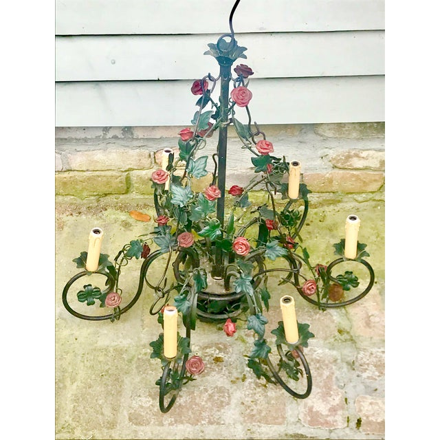 Boho Chic Vintage Tole Rose & Ivy Six Arm Chandelier For Sale - Image 3 of 11