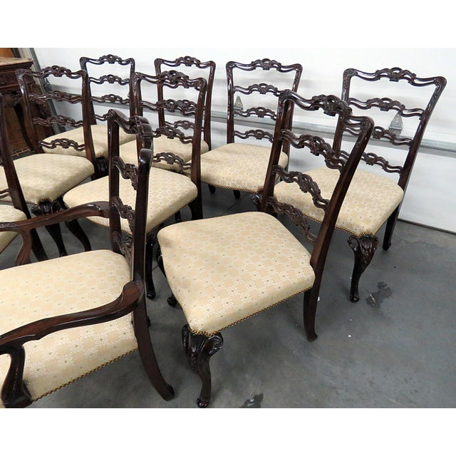 Georgian Style Ladder Back Dining Chairs - Set of 10 For Sale - Image 4 of 8