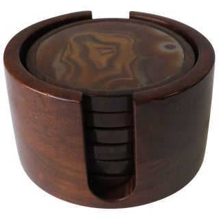 Brazilian Modern Onyx and Rosewood Drink or Cocktail Coasters For Sale
