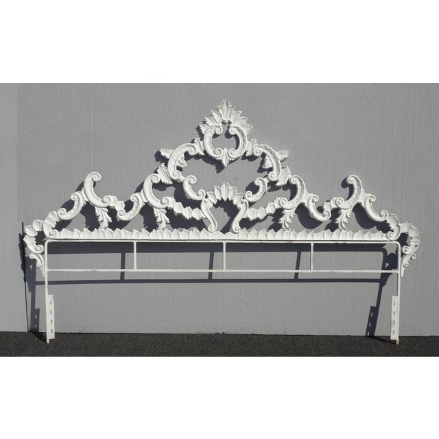 Vintage French Provincial Louis XVI Rococo White Metal King Headboard For Sale - Image 12 of 12
