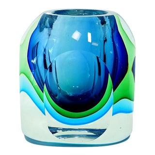 Tri-Color Sommerso Art Glass Trinket Holder For Sale