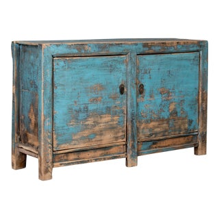 19th Century Antique Sideboard Cabinet With Distressed Blue Paint For Sale