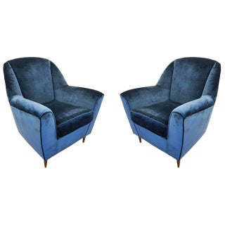 Pair of Large Italian Mid-Century Armchairs For Sale