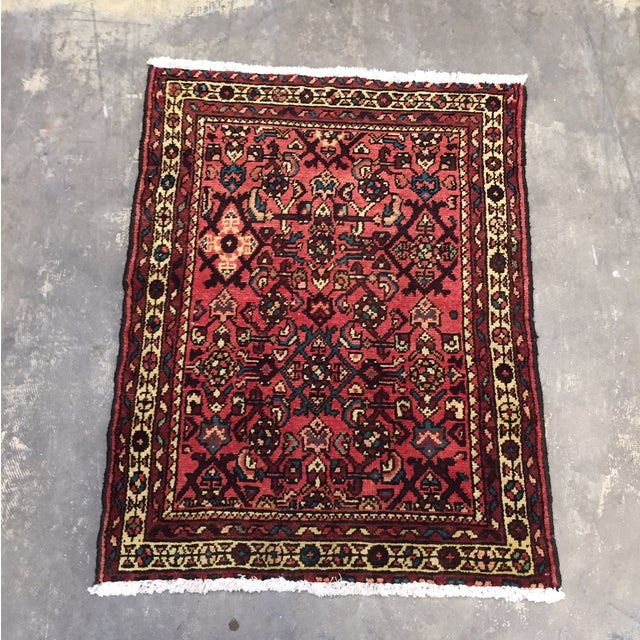"Hamadan Hand Made Persian Rug - 2'5"" x 3'2"" - Image 2 of 9"