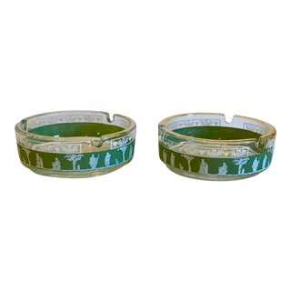 Vintage Hellenic Glass Ashtrays- a Pair For Sale