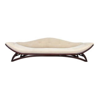 Mid Century Modern Designer Pearsall Style Gondola Sofa in Beige - Contemporary Design Refinished Mahogany Linen Upholstery