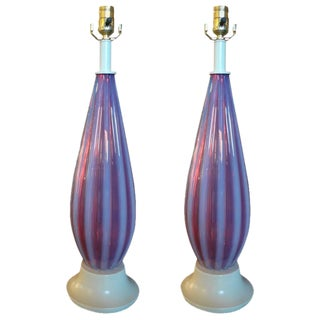 1960s Italian Opalescent Murano Glass Lamps - a Pair For Sale