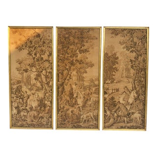 Vintage French Tapestries in Gold Frames - Set of 3 For Sale
