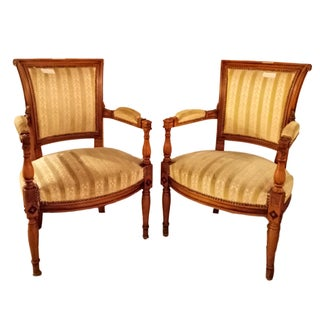 Louis XVI Style Armchairs, In The Manner of Jansen- A Pair