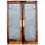 Image of Pair of Art Deco Etched Glass Doors For Sale