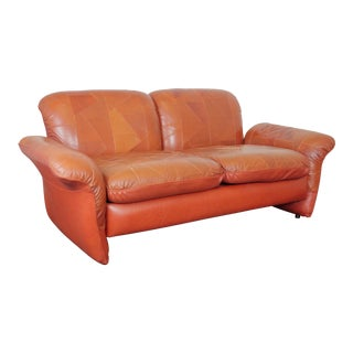 Vintage Swedish Patchwork Leather Loveseat For Sale