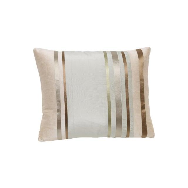 Satin Gold Bronze Stripes Decorative Pillow For Sale