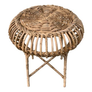 Rattan Accent Stool or Table For Sale