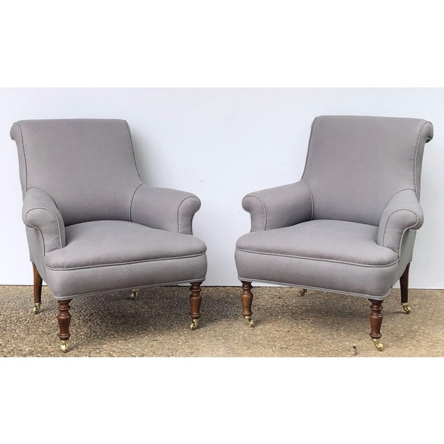 French Linen Upholstery French Scroll-Back Armchair For Sale - Image 3 of 13