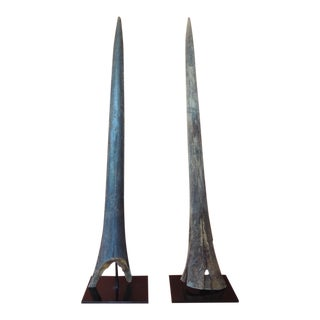 Vintage Pair of Marlin Fish Bills Mounted on Metal Stands From the Bahamas For Sale